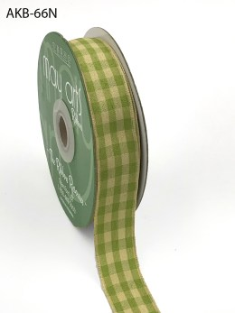 celery and tan gingham picnic ribbon