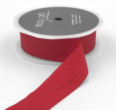 red faux silk wrinkled nylon ribbon