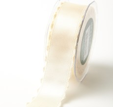 Ivory Satin Scalloped Edge Ribbon