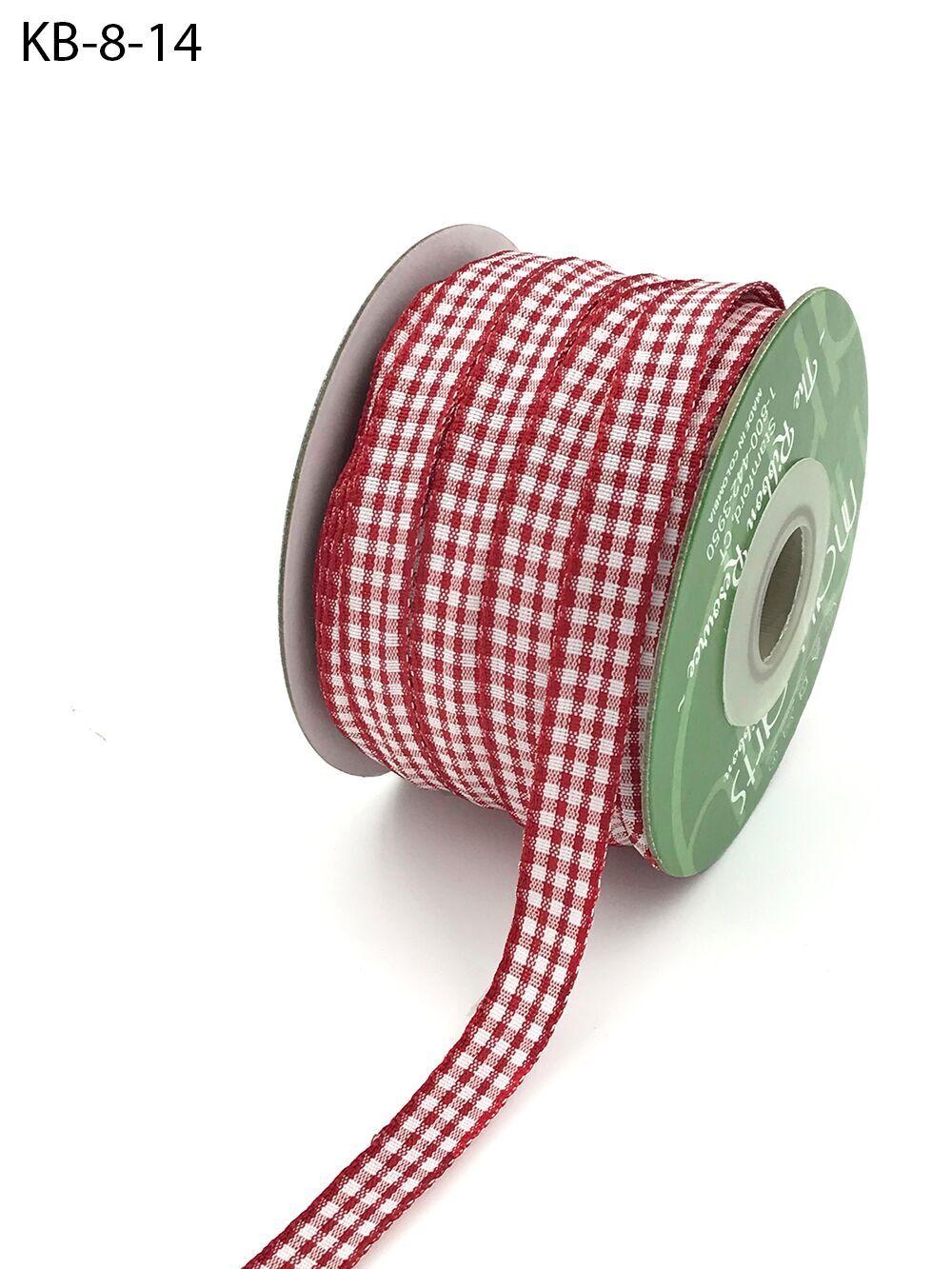 3//8 Inch Solid Plaid Ribbon 5 yards Red//Black//Green KB75 May Arts