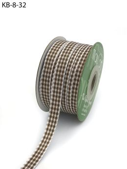 taupe and white gingham ribbon