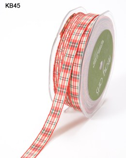 thin red yellow green plaid gingham ribbon