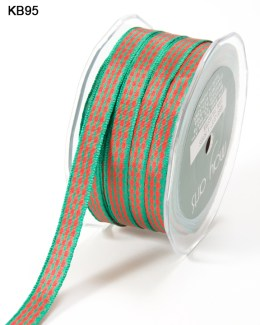 thin red and green Christmas plaid gingham ribbon