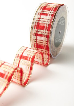 """1.5"""" Red & Gold Holiday Plaid Wired Christmas Ribbon"""
