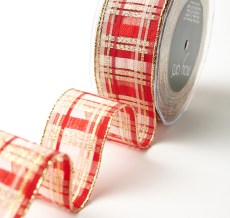 "1.5"" Red & Gold Holiday Plaid Wired Christmas Ribbon"