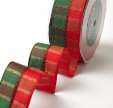 """1.5"""" Red & Green Holiday Plaid Wired Christmas Ribbon"""