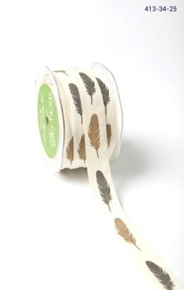 BLACK/BROWN FEATHERS Ivory Canvas w/ Print Ribbon