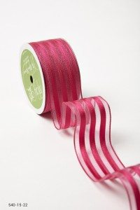 Fuchsia Sheer With Solid Stripes (Wired) Ribbon