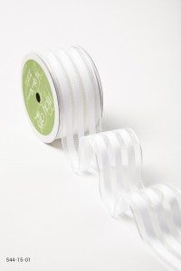 White Sheer With Solid Stripes (Wired) Ribbon
