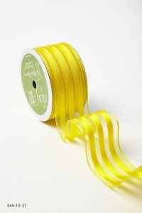 Yellow Sheer With Solid Stripes (Wired) Ribbon