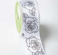 White/Black Double Faced Satin Sketched Rose Print Ribbon