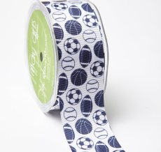 Navy Grosgrain w/ Print Ribbon