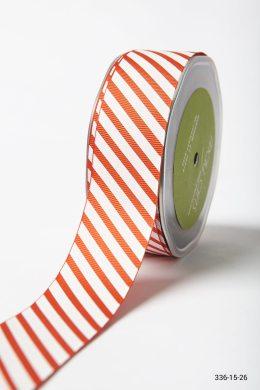 Burnt Orange Grosgrain w/ Diagonal Stripes Print Ribbon