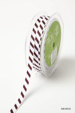 Burgundy Grosgrain w/ Diagonal Stripes Print Ribbon
