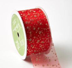 "1.5"" 533H-15-54 RED/GOLD GLITTER DOTS"