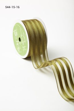 """1.5"""" x 25 Olive Sheer with Woven Stripes Ribbon"""