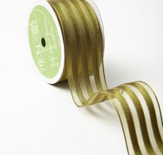 "1.5"" x 25 Olive Sheer with Woven Stripes Ribbon"