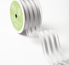 Grey Sheer with Woven Stripes Ribbon
