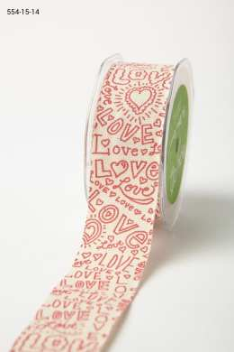 Red Print Hand Drawn Love Ivory Linen Ribbon