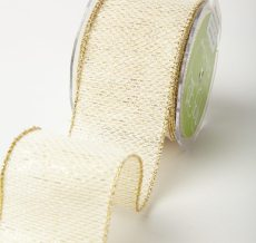 Ivory/Gold Zig Zag Wired Tweed Woven Metallic Ribbon