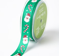 GREEN SANTA/CANDY CANE Grosgrain w/ Print Ribbon
