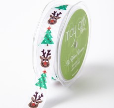 WHITE REINDEER/TREE Grosgrain w/ Print Ribbon