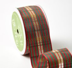 "1.5"" YXH-15-45 RED/GREEN/GOLD PLAID RIBBON"