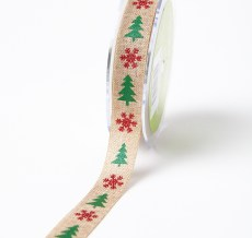 red snowflake green christmas tree print Christmas jute ribbon