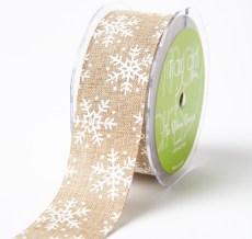 white snowflake print jute ribbon