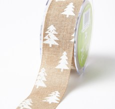 white christmas tree print jute ribbon