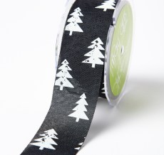 white christmas tree black jute ribbon
