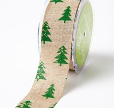 green christmas tree jute ribbon