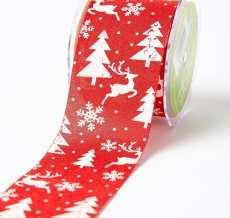 white reindeer christmas tree snowflake print jute ribbon