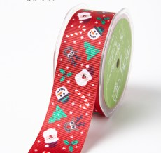 RED SANTA/CANDY CANE/TREE/HOLLY Grosgrain w/ Cartoon Print Ribbon