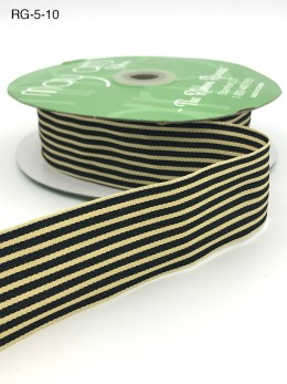 black and dark ivory tan striped grosgrain ribbon