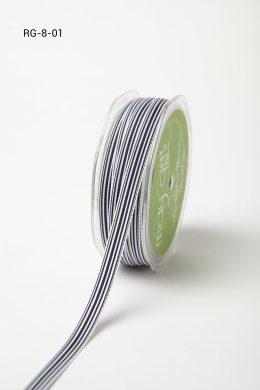 "3/8"" x 50 Navy/White Grosgrain Striped Ribbon"