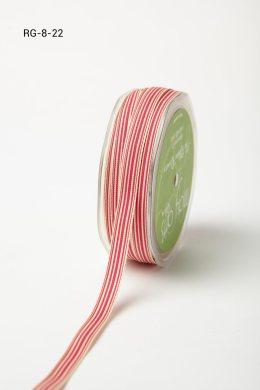 "3/8"" x 50 Fuchsia/Ivory Grosgrain Striped Ribbon"