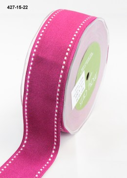 white stitched edges hot pink grosgrain ribbon