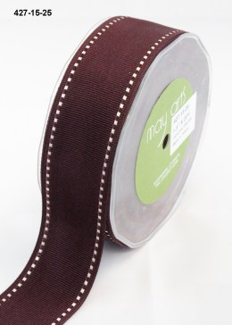 white stitched edges burgundy grosgrain ribbon