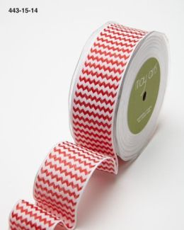 red and white chevron striped woven wired ribbon