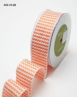 orange and white chevron striped woven wired ribbon