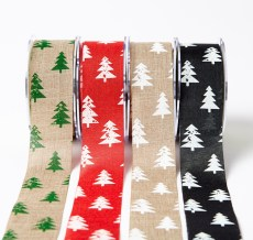 "1.5"" Christmas tree print jute ribbons"