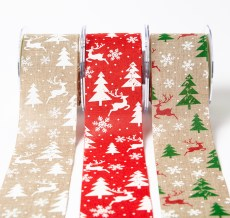 "2.5"" Christmas print jute ribbons"