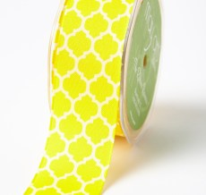 yellow and ivory quatrefoil lattic print linen ribbon