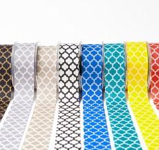 quatrefoil lattic print linen ribbon