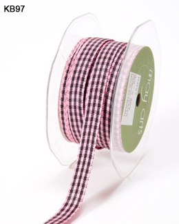pink and black checkered gingham ribbon