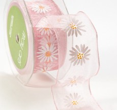 Daisy Print Organza Wired Ribbon
