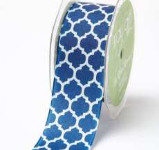 NAVY/IVORY Linen Lattice Print Ribbon