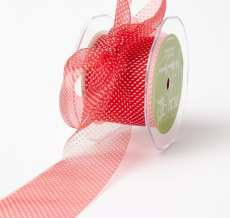 Red/White Sheer Mini White Dot Ribbon