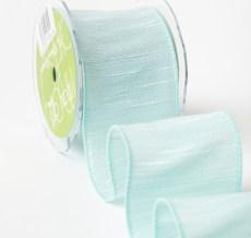 Textured Woven White Ribbon (Wired) Seafoam/White